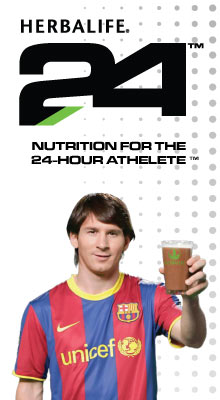 Herbalife24 logo and Lionel Messi.